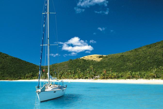 White bay, anchored yacht, Jost Van Dyke island, British Virgin