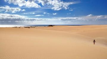 Fuerteventura, la spiaggia di Corralejo: le bianche e gigantesche dune di sabbia sul mare provengono dal Marocco, soffiate dal vento dal Sahara fino a questa incantevole spiaggia (foto: Alamy/Milestonemedia)