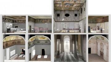 La sezione del palazzo Barbarano a Vicenza, il solo edificio urbano interamente realizzato da Palladio, a pochi passi da piazza dei Signori. Oggi ospita il Palladium Museum