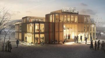 La Casa Svizzera, inaugurata a Sochi, che accoglie i milanesi in Piazza del Cannone a Milano per il Giro del Gusto, tour itinerante che tocca anche Roma e Torino