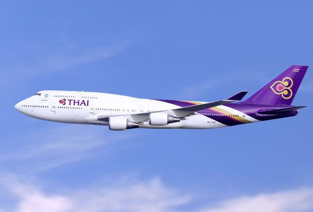Il B747-400, scelto da Thai Airwais per i collegamenti tra l'Italia e Bangkok.