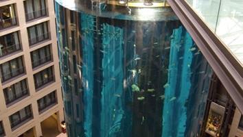 La vasca cilindrica di Acquadom, riempita con un milione di litri d'acqua marina