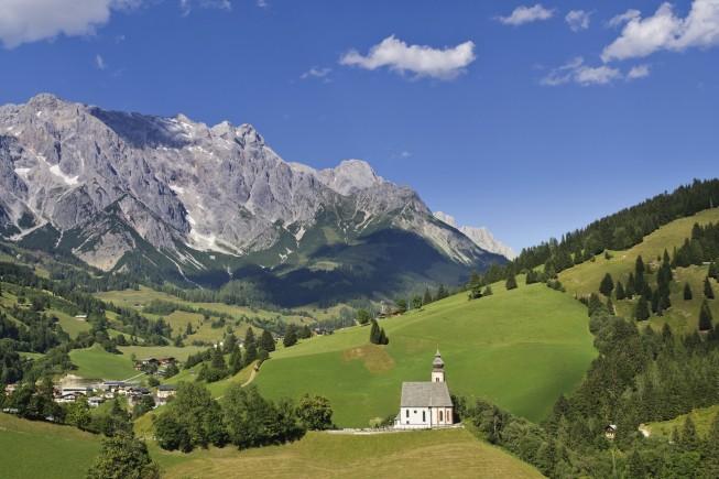 Church and village Dienten, mountain Hochkonig, Salzburg, Austria