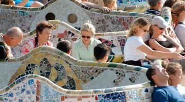 La terrazza del Parco Gu?ell, opera dell?architetto Gaudí e tutelato dall?Unesco