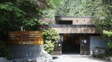 L'ingresso del Capilano Salmon Hatchery, a Vancouver (foto Alamy/Milestone Media)