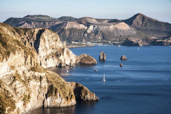 beautiful view on Vulcano island from Lipari island, Italy