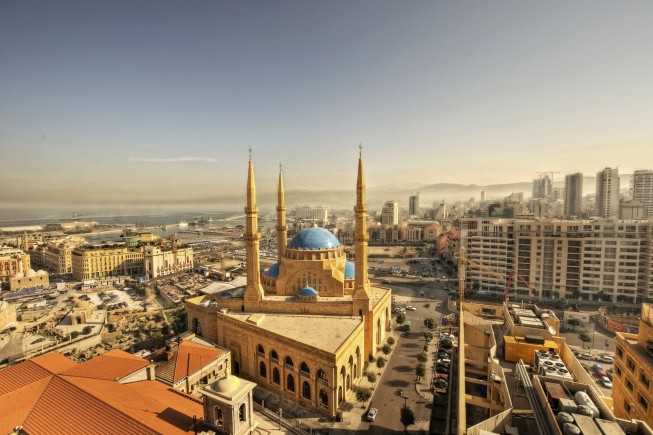 Beirut downtown cityscape & Mohammad al amin mosque
