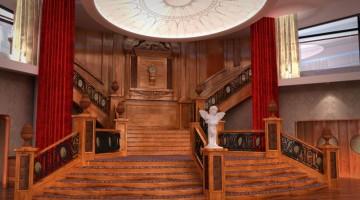 La scalinata centrale del Titanic è stata ricostruita nei minimi dettagli (foto: Titanic Belfast)