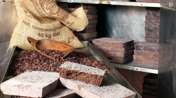 Pregiati pane di cacao grezzo sono conservati in un caveau del laboratorio Peyrano, tra i baluardi piemontesi della produzione artigianale