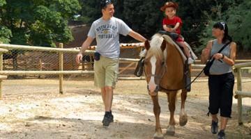 Un piccolo visitatore del parco di Perugia alla sua prima passeggiata a cavallo