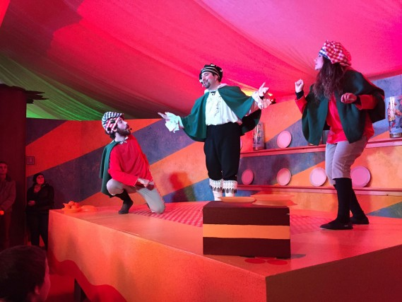 Un momento dello spettacolo che si svolge all'interno del castello di Govone, in Piemonte, set de Il magico paese del Natale, fino al 6 gennaio