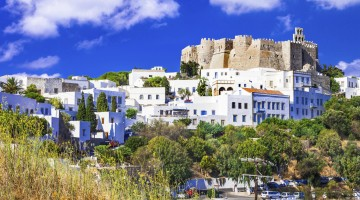 view of Monastery of st.John in Patmos island, Dodecanese, Greec