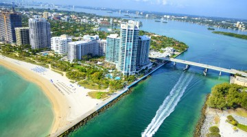 Biscayne Bay, Miami Beach. Aerial View