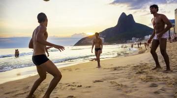 Locals Playing Ball at Ipanema Beach, Rio de Janeiro, Brazil