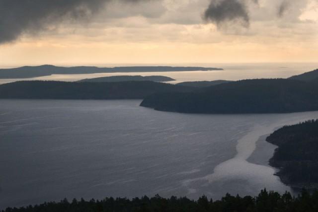 La scogliera con vista panoramica sull'oceano a Skuleskogen, Ångermanland