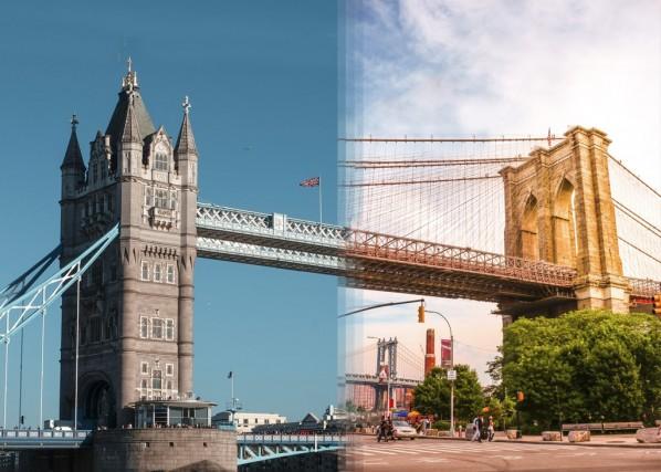 Il Tower Bridge di Londra vs ponte di Brooklyn a New York