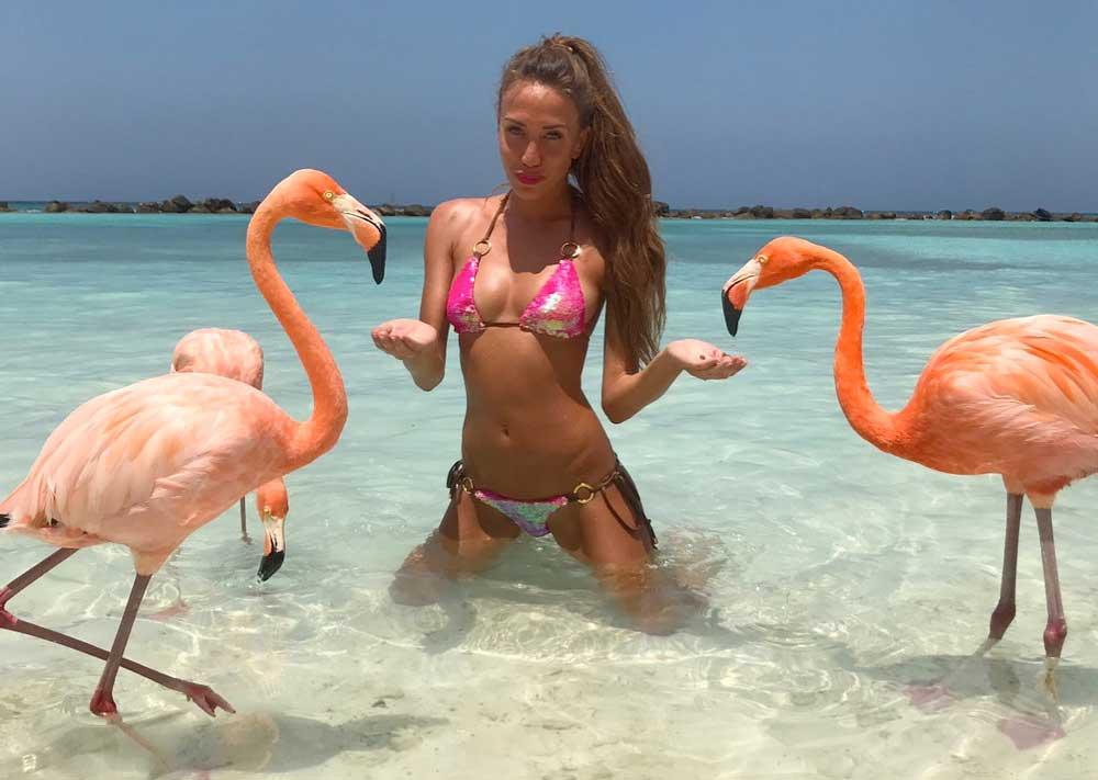 Flamingo Beach: è questa la spiaggia dove fare il bagno con i (veri) fenicotteri rosa. Un atollo artificiale dei Caraibi, dove si può nuotare accanto al grande uccello, quello vero, in carne, piume ed ossa