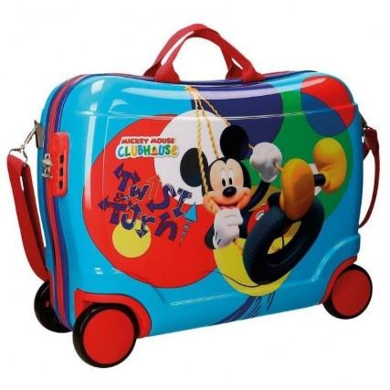 Per portare in vacanza i giocattoli preferiti dei più piccoli c'è la valigia cavalcabile azzurra di Mickey Mouse