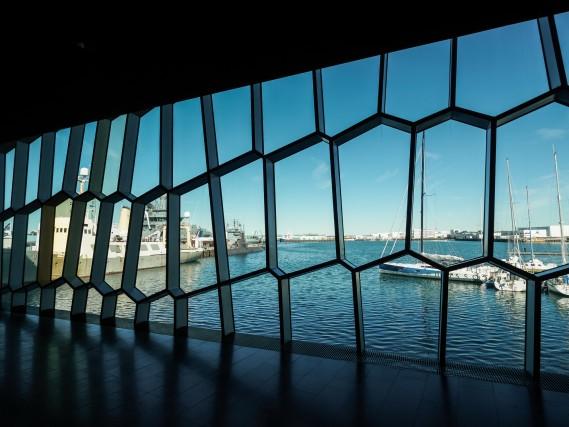 Di fronte all'Harpa c'è il porto di Reykjavík, dove si noleggiano biciclette e attrezzatura per snorkeling.