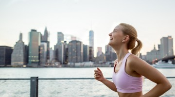 Young woman running outdoors in New York