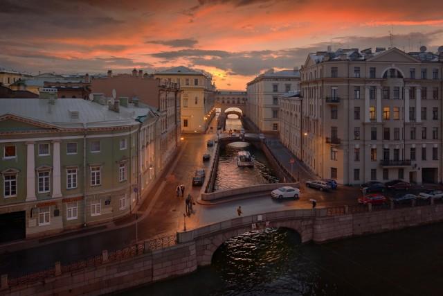 Tramonto a San Pietroburgo.