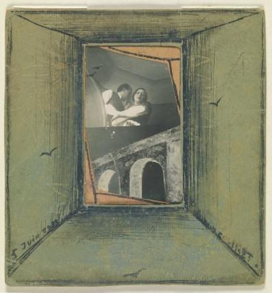 """Ritratto di Marcel Lecomte e un'amica, 1933, custodito all'interno del Museo Reale delle Belle Arti di Bruxelles. Il poeta surrealista e Magritte strinsero un forte legame di stima e amicizia testimoniato da scambi di lettere che saranno esposte al Museo Magritte in occasione della mostra """"Magritte e Marcel Lecomte""""."""