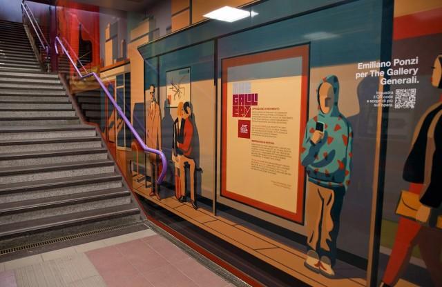 I murales di Ponzi raccontano scene di vita quotidiana in città: passanti, pendolari, viaggiatori. Ragazzi in skate o in bici, coppie innamorate, gente con lo sguardo sullo smartphone