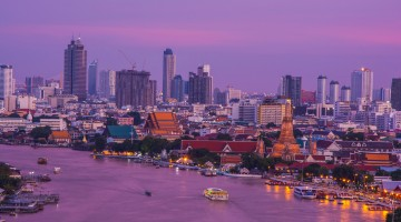 Landscape of River and Arun Temple in Bangkok city