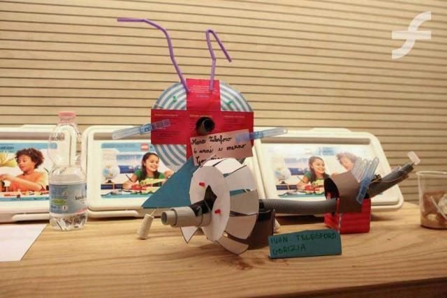 Alcune creazioni realizzate dai bambini durante i laboratori del Museo dell'Immaginario Scientifico di Trieste.