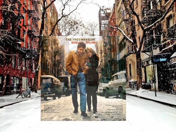 La cover dell'album The Freewheelin'di Bob Dylan(1963) è stata scattata in un pomeriggio terribilmente freddo del febbraio dell'anno di uscita dell'album, tra le Jones e la West 4th Street, a Greenwich Village, New York. Protagonisti dello scatto, ricorda la pagina Facebook PopSpots, che ha ritrovato e ambientato lo stesso angolo di scatto dell'immagine, sono Bob Dylan e la sua allora fidanzata Suze Rotolo, ritratti abbracciati.