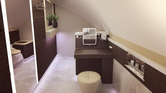 Ogni suite è equipaggiata con un monitor full HD da 32 pollici, un guardaroba personale completo, scomparti su misura per gli oggetti personali, un amenity box, moquette e illuminazione con luci suffuse. Nella foto: un dettaglio della zona bagno