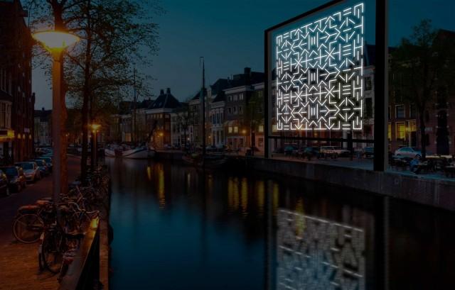Una delle installazioni luminose che si potranno ammirare lungo i canali del centro storico di Amsterdam.