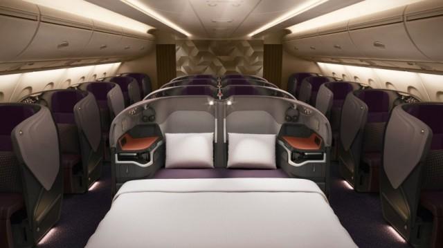 In business classi sedili possono essere convertiti in un letto matrimoniale (86 centimetri)