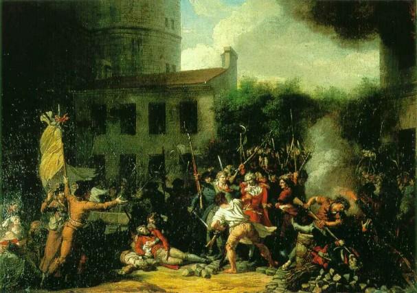 14 luglio 1789, presa della Bastiglia: un gruppo di rivoluzionari prende d'assalto la prigione fortezza della Bastiglia, simbolo anche del potere monarchico, dove in realtà erano custoditi solo sette detenuti. Questo evento segnò l'inizio della Rivoluzione francese.
