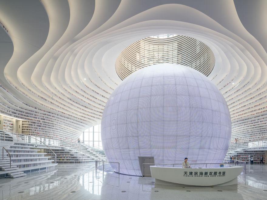 La strabiliante biblioteca di Tianjin: una navicella spaziale per la lettura