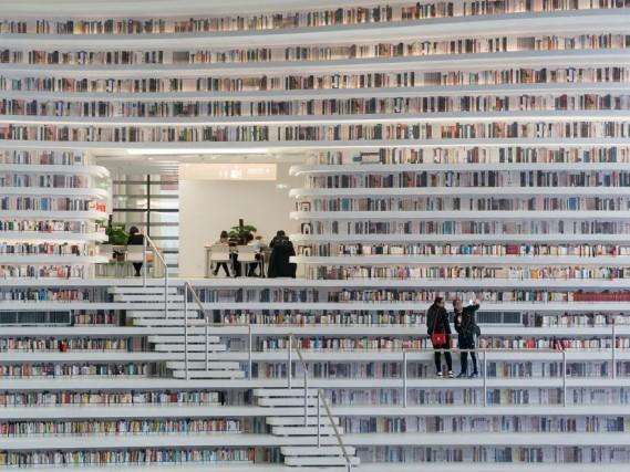 L'edificio della Tianjin Binhai Library è compreso nel complesso culturale della città di Tianjin: nel piano interrato si trovano gli archivi, mentre il piano terra accoglie le sale lettura, l'auditorium e l'accesso al terrazzo