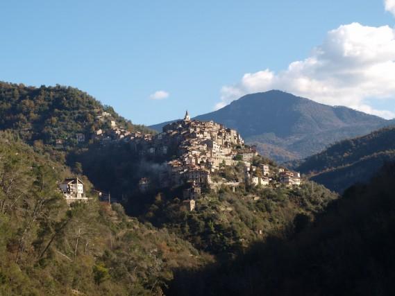 Vista sul borgo di Apricale. Il centro abitato è disposto a cascata sui declivi di una collina.