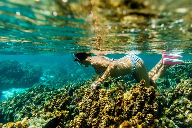 Si fa snorkeling lasciandosi trasportare dalla corrente sopra il giardino di coralli nella laguna di Taha'a. In foto, Lilly di Mascio, della pensione La Perle de Taha'a.