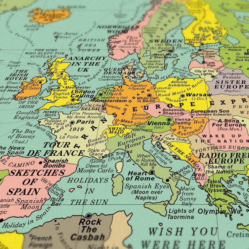 Cartina Geografica Mondo Con Nomi.World Song Map La Mappa Delle Piu Belle Canzoni Al Mondo