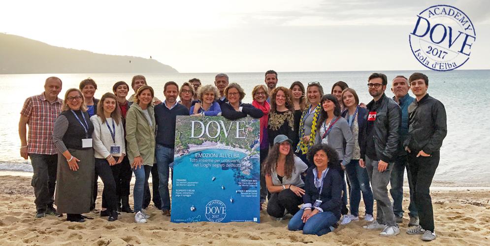 Foto di gruppo della prima edizione di Dove Academy all'isola d'Elba, nel maggio 2017