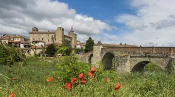Roman Bridge, River and Church of Monastero Bormida, Piedmont