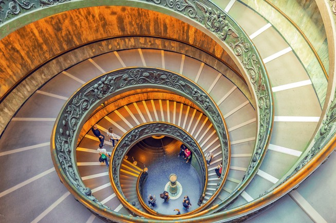 Vatican-City, Vatican- May 09, 2017: Inside the Vatican Museum .Bramante Staircase. Name given to two staircases in the Vatican Museums in the Vatican City State.