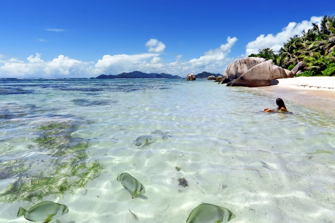 La spiaggia a La Digue, Seychelles (foto di Enrico De Santis/DOVE).
