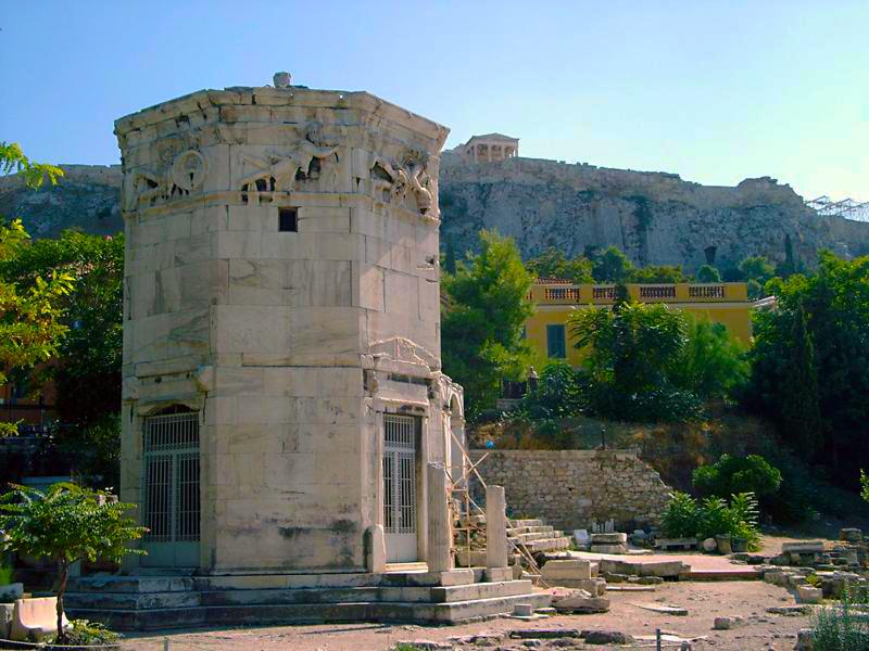 La Torre dei venti nell'agorà romano di Atene. Risale probabilmente al 50 a.C.