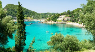 amazing azure bay in Paleokastritsa in Corfu island, Greece