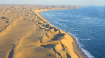 Sanddunes of the Namib Desert meet the Coastline of the Ocean