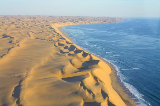 Sanddunes of the Namib Desert meet the Coastline of the Ocean