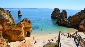 Wooden Stairs to Praia do Camilo at Algarve with blue Atlantic at Horizon