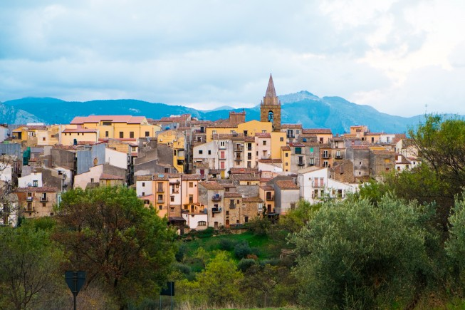 Town of Castelbuono on the Madonie mountains, Sicily, Italy