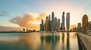 Dubai Marina Skyline Sunlight